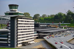 Scaled replica of Amsterdam Schiphol airport at Madurodam minature park Royalty Free Stock Image