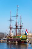 Scaled replica of The Amsterdam VOC ship. AMSTERDAM, NETHERLANDS - MARCH 12, 2014: Scaled replica of The Amsterdam VOC ship, an 18th century cargo ship in the Stock Image