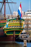 Scaled replica of The Amsterdam VOC ship. AMSTERDAM, NETHERLANDS - MARCH 12, 2014: Scaled replica of The Amsterdam VOC ship, an 18th century cargo ship in the Stock Photography