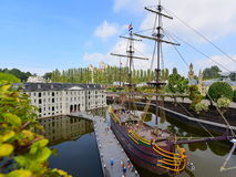 Scaled replica of The Amsterdam (VOC ship), an 18th century cargo ship. HAGUE - SEPTEMBER 19: Scaled replica of The Amsterdam (VOC ship), an 18th century cargo Royalty Free Stock Photos