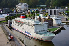 Scaled replica of Stena Line ship in the Madurodam minature park Royalty Free Stock Photo