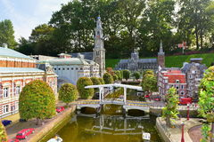 Scaled replica of traditional Dutch canal houses at Madurodam minature park Stock Photography