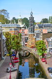 Scaled replica of traditional Dutch canal houses at Madurodam minature park Stock Images