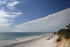 Scalene. Triangle study with clouds, ocean and beach Stock Image