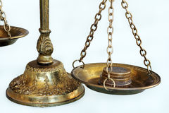 The scales. For the finance and the financial balance lies here money on scales Royalty Free Stock Images