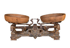 Scales. Antique scales with cups, metal, lever type Stock Photos