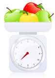 Scales with apples. Illustration, AI file included Royalty Free Stock Photos