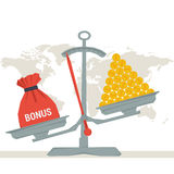 Scales - bag with bonus or money. Vector infographic value of bonus. Scales with bonus bag and pile of money coins. Flat style concept illustration. Web Royalty Free Stock Photo