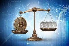 The scales with bitcoins and other currencies - 3d rendering Stock Photography