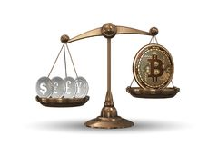 The scales with bitcoins and other currencies - 3d rendering Royalty Free Stock Photos