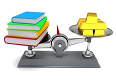 Scales books and gold Royalty Free Stock Photo