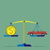 Scales, car and money Stock Image