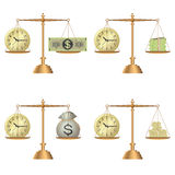 Scales with clock and money Stock Photos