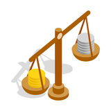 Scales with coins icon, isometric 3d style Royalty Free Stock Photography