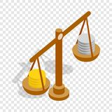 Scales with coins isometric icon. 3d on a transparent background vector illustration Stock Photography