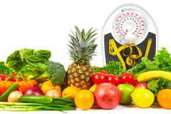 Scales and collection fruits and vegetables Stock Image