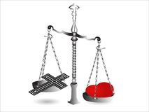 Scales with cross stock images