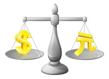 Scales currency concept. Foreign exchange forex concept, dollar and yuan signs on scales being weighed against each other Royalty Free Stock Images
