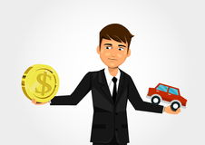 Scales with dollar and car. Businessman scales with dollar and car Stock Image