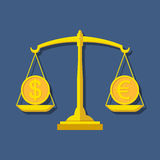 Scales with Dollar and Euro symbols. Foreign exchange forex conc Royalty Free Stock Photos