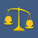 Scales with Dollar and Euro symbols. Foreign exchange forex conc Royalty Free Stock Photo