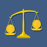 Scales with Dollar and Euro symbols. Foreign exchange forex conc Royalty Free Stock Images