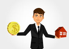 Scales with dollar and home. Businessman scales with dollar and home Stock Images