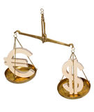 Scales with dollar signs and euro Royalty Free Stock Photography