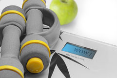 Scales and dumbbells. Dumbbells and scales for fitness Stock Photography