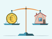 Scales, euro and house. Euro coin and house on scales. Real estate, rental, expense, liabilities and mortgage concept. EPS 8 vector illustration, no transparency Stock Photography