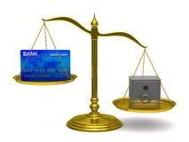 scales för kortkrediteringssafe Royaltyfri Illustrationer