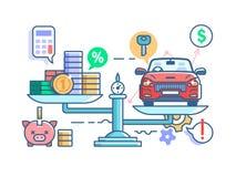 scales för priser för bilbegreppspengar vektor illustrationer