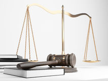 Scales gavel books. Golden justice scales, books and hardwood gavel on light background. 3D Rendering Royalty Free Stock Photos