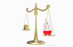 Scales with gold and hearts Stock Image