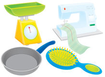 Scales, griddle, hairbrush and sewing machine Stock Photography
