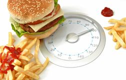 Scales with hamburger Royalty Free Stock Images