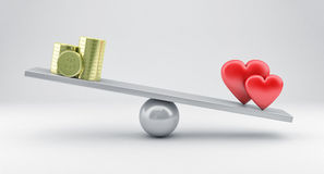 Scales with hearts and money Royalty Free Stock Photo