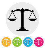 Scales icon. Scales of justice icon on white Royalty Free Stock Image