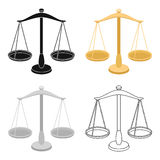 Scales for jewelry. Weights for measuring punishment.Prison single icon in cartoon style vector symbol stock Stock Images
