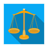 Scales for jewelry. Weights for measuring punishment.Prison single icon in flat style vector symbol stock illustration. Royalty Free Stock Photography
