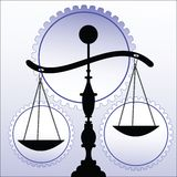 Scales of justice. With wheels/gears behind - slightly off balance Royalty Free Stock Image