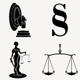 The scales of justice. Illustrated set Stock Photo