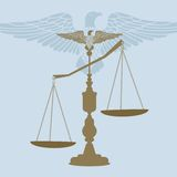 Scales of justice. Eagle on top unbalanced (eagle separate unit  in vector format Royalty Free Stock Photography