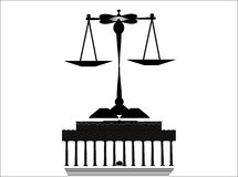Scales of justice. With Lincoln memorial in silhouette on white Royalty Free Stock Photo