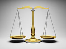 Scales justice. 3d illustration on gray background Stock Images