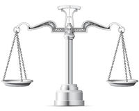 Scales of Justice. Ornate, silver scale of justice Stock Image