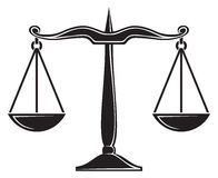 Scales of justice. Balance that symbolically shows the scale of justice Stock Images
