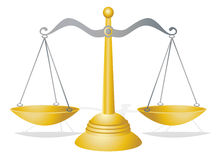 Scales of Justice. Vector illustration of a set of golden scales of justice Stock Photography