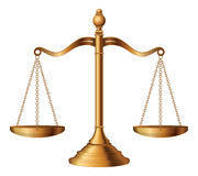 Scales of Justice. Illustration of the scales of justice symbolizing the measure of a cases support and opposition in a court of law Stock Photo