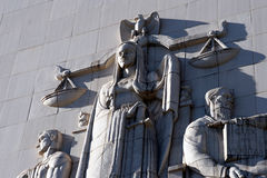 Scales of Justice. Relief of the scales of justice on the Los Angeles courthouse wall stock image